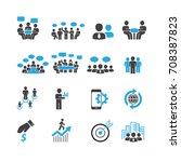 people and business icons set... | Shutterstock .eps vector #708387823