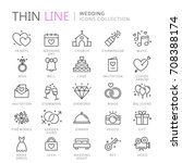collection of wedding thin line ... | Shutterstock .eps vector #708388174