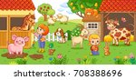 the girl and mother on the farm ...   Shutterstock .eps vector #708388696