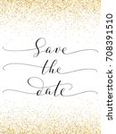 save the date card with falling ... | Shutterstock .eps vector #708391510