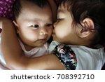 two beautiful little sisters... | Shutterstock . vector #708392710