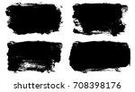 set of black brush stroke on a... | Shutterstock . vector #708398176