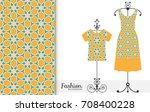 vector fashion illustration.... | Shutterstock .eps vector #708400228