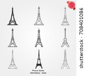 eiffel tower icons vector | Shutterstock .eps vector #708401086