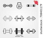 dumbbell icons vector | Shutterstock .eps vector #708401179