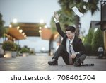 tired or stressed businessman... | Shutterstock . vector #708401704