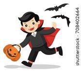 happy halloween. funny little... | Shutterstock .eps vector #708402664