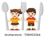 kids menu. children with knife  ... | Shutterstock .eps vector #708403366