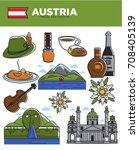 austria travel destination... | Shutterstock .eps vector #708405139