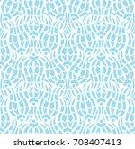 floral tulip iznik pattern.... | Shutterstock .eps vector #708407413