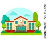 modern school buildings... | Shutterstock .eps vector #708412420
