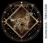 dog. zodiac esoteric symbol... | Shutterstock .eps vector #708413368