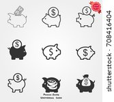 piggy bank icons  piggy bank... | Shutterstock .eps vector #708416404