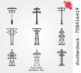 electric tower icons vector   Shutterstock .eps vector #708416419
