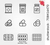 medicines pills icons vector | Shutterstock .eps vector #708416470