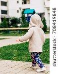 baby girl wearing knitted... | Shutterstock . vector #708419848