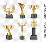 vector set of metal award cups. ... | Shutterstock .eps vector #708422959