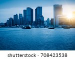 the skyline with shanghai world ... | Shutterstock . vector #708423538