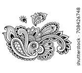 henna tattoo flower template.... | Shutterstock .eps vector #708426748