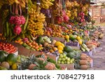 various kinds of vegetables and ... | Shutterstock . vector #708427918