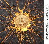bitcoin smashes a burning...   Shutterstock . vector #708429418