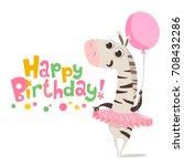 happy birthday vector card.... | Shutterstock .eps vector #708432286