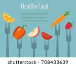 vegetables and fruits on forks. ... | Shutterstock .eps vector #708433639