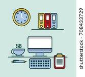 office work space pc checklist... | Shutterstock .eps vector #708433729