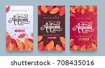autumn calligraphy. seasonal... | Shutterstock .eps vector #708435016