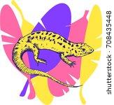 lizard on the banana leafs. | Shutterstock .eps vector #708435448