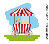 amusement snack cart stand flat ... | Shutterstock .eps vector #708437080