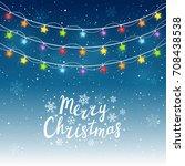 christmas light bulbs on starry ... | Shutterstock .eps vector #708438538