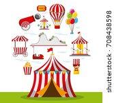 carnival fun fair festival... | Shutterstock .eps vector #708438598
