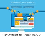marketing automation. computer... | Shutterstock . vector #708440770