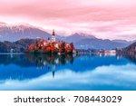 bled lake in slovenia  famous... | Shutterstock . vector #708443029
