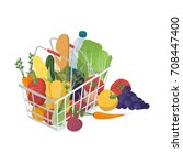 shopping basket with fresh... | Shutterstock .eps vector #708447400