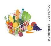 shopping basket with fresh... | Shutterstock .eps vector #708447400