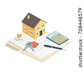 model house  house keys and... | Shutterstock .eps vector #708448579