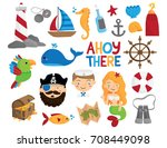 nautical icons   pirate  sailor ... | Shutterstock .eps vector #708449098