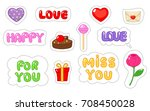 set of love sticker. flat and... | Shutterstock .eps vector #708450028