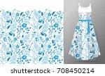 flower embroidery on dress mock ... | Shutterstock . vector #708450214