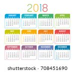 year 2018 colorful calendar ... | Shutterstock .eps vector #708451690