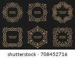 monogram line vintage frames....   Shutterstock .eps vector #708452716