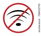no wifi icon vector... | Shutterstock .eps vector #708453793