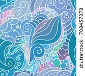 colorful blue zentangle... | Shutterstock .eps vector #708457378