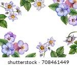 watercolor border of flowers... | Shutterstock . vector #708461449