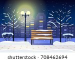 night winter landscape with a... | Shutterstock .eps vector #708462694