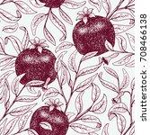pomegranate fruit retro vector...   Shutterstock .eps vector #708466138