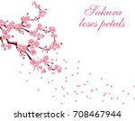 branches with pink flowers and... | Shutterstock .eps vector #708467944