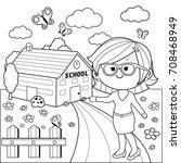 teacher in front of school...   Shutterstock .eps vector #708468949